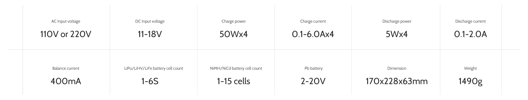 ev-peak cq2 5a rc balance charger specifications