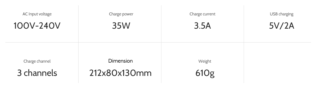 ev-peak dp2 3 channel intelligent bebop 2 drone battery charger specifications