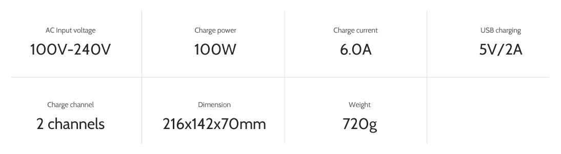 ev-peak-dy1 2 channel intelligent typhoon q500 drone battery charger specifications