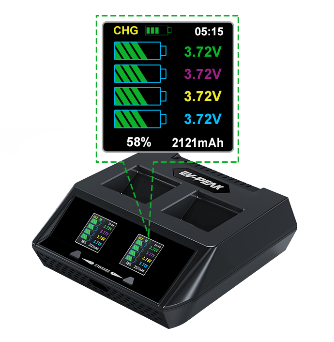 ev-peak dy3 2 channel intelligent typhoon h drone battery charger lcd display