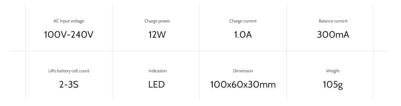 ev-peak e1 50w 1a rc balance charger specifications